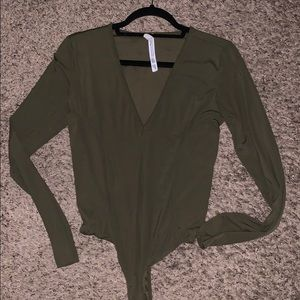 Olive/Army Green Free People V-Neck Bodysuit